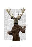 Fencing Deer Portrait Print by  Fab Funky