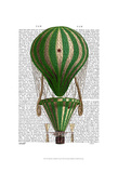 Tiered Hot Air Balloon Green Print by  Fab Funky