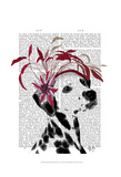 Dalmatian With Red Fascinator Posters by  Fab Funky