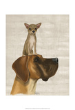 Great Dane and Chihuahua Art by  Fab Funky