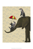 Elephant and Penguins Poster by  Fab Funky