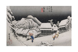 Night Snow, Kambara', from the Series 'The Fifty-Three Stations of the Tokaido' Giclee Print by Utagawa Hiroshige