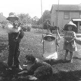 Children with a Dog and Puppy Gathered around a Rope Swing at the Mccready Farm Photographic Print by William Davis Hassler