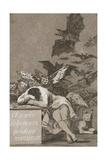 El Sueño De La Razón Produce Monstruos (The Sleep of Reason Produces Monsters) Giclée-tryk af Francisco de Goya