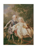 Charles of France (1757-1836) Count of Artois and His Sister, Clothide (1759-1802) 1763-64 Giclee Print by Francois-Hubert Drouais