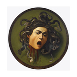 Medusa, Painted on a Leather Jousting Shield, C.1596-98 Giclée-tryk af Michelangelo Merisi da Caravaggio