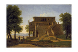 An Italian Villa with Figures, 19th Century Giclee Print by Jean Victor Bertin