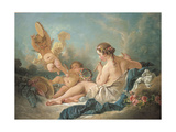 A Reclining Nymph Playing the Flute with Putti, Perhaps the Muse Euterpe, 1752 Giclee Print by Francois Boucher