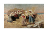 Threshing Giclee Print by Charles Alexandre Coessin De La Fosse