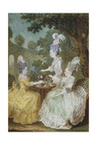 Marquise De Motesson, Marquise De Crest and Countess of Damas Having Tea in Garden Giclee Print by Louis Carrogis Carmontelle