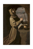 St. Francis in Prayer in a Grotto, 1650-55 Giclee Print by Francisco de Zurbaran