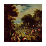 Pygmies at a Fair Water from a Well in the Foreground and Watching Theatrical Performances Beyond Giclee Print by Faustino Bocchi