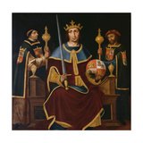 Saint Ferdinand Enthroned with Two Courtiers Giclee Print by Juan De juanes