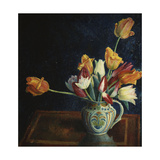 Tulips in a Staffordshire Jug Gicléetryck av Dora Carrington