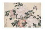 In einer Brise nach links geneigte rosa und rote Pfingstrosen und ein Schmetterling Giclée-Druck von Katsushika Hokusai