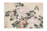 Pink and Red Peonies Blown to the Left in a Breeze and a Butterfly Giclee Print by Katsushika Hokusai