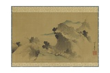 Landscape: Mountains, Stream and Boats, Edo Period Giclee Print by Katsushika Hokusai