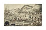 Captain Cook Landing 'N Owyhee', from the Voyages of Captain Cook Giclee Print by Isaac Robert Cruikshank