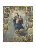 The Immaculate Conception with the Fifteen Mysteries of the Rosary Giclee Print by Miguel Cabrera