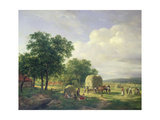 A Wooded Landscape with Haymakers, 1822 Giclee Print by Hendrick van de Sande Bakhuyzen