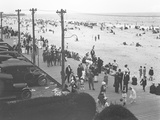 View of the Boardwalk and Beach from Curley's Hotel, Belle Harbor, Queens, July 11, 1915 Photographic Print by William Davis Hassler