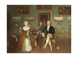 Group Portrait of a Lady and Two Gentlemen, Full-Length, Seated at a Table Giclee Print by Philip Reinagle
