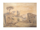 The Antique Fountain and Arch at Grottaferrata, Rome Giclee Print by Gaspar van Wittel