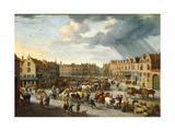 The Old Ox Market in Antwerp Giclée-Druck von Peeter van Bredael