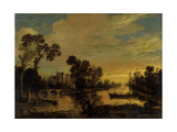 Landscape with Canal, 1643 Giclee Print by Aert van der Neer