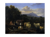 Summer's Evening in Italy, 1660 Giclee Print by Nicolaes Pietersz. Berchem