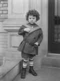 Little Boy in Sailor Suit on Front Stoop of Vermilyea Avenue Apartment Building, C.1913 Photographic Print by William Davis Hassler
