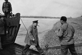 Winston Churchill Disembarking from a Boat on the Eastern Bank of the Rhine, 25th March 1945 Photographic Print