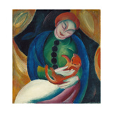 Girl with a Cat II, 1912 Gicléetryck av Franz Marc