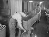 Adjusting the Sides and Bottom of the Shell of a Wooden Casket, Oneida, New York, April 3, 1916 Photographic Print by William Davis Hassler