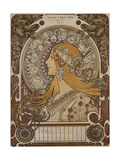 Zodiac, Grand Bazar and Nouvelles Galeries, Tours, 1896 Giclee Print by Alphonse Mucha