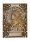 Zodiac, Grand Bazar and Nouvelles Galeries, Tours, 1896 Lámina giclée por Alphonse Mucha