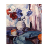 Mixed Carnations and Cornflowers in a Pottery Vase, C.1931 Giclee Print by Samuel John Peploe