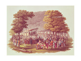 Camp Meeting of the Methodists in North America, Engraved by M. Dubourg, 1819 Giclee Print by Jacques Milbert