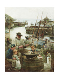Shipmodel Maker with Harbour, 1908 Giclee Print by John Robertson Reid