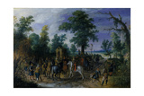 Cavalry and Infantry before a Chapel, before 1610 Giclée-Druck von Sebastian Vrancx