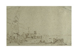 A Windmill and a Group of Houses, C.1652-53 Giclee Print by  Rembrandt van Rijn