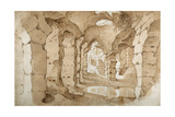 Inside the Ruins of the Colosseum (Pen and Brown Ink with Brown Wash on White Paper) Giclée-Druck von Sebastian Vrancx