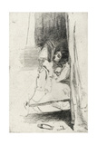 Reading in Bed (The Slipper) 1858 Giclee Print by James Abbott McNeill Whistler