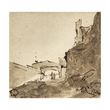 Outskirts of a Town with Walls and a Doorway, C.1627-28 Giclee Print by  Rembrandt van Rijn