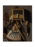 Still Life with Bird Trapping Equipment, 1660 Giclee Print by Johannes Leemans