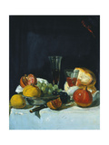 Grapes, Lemons and Pomegranates with White Wine Glasses and Loaf of Bread Giclee Print by George Leslie Hunter