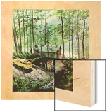 """Visitors to Cabin in the Woods"", August 23, 1958 Wood Print by Thornton Utz"