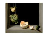 Quince, Cabbage, Melon, and Cucumber, C.1602 Giclée-tryk af Juan Sanchez Cotan