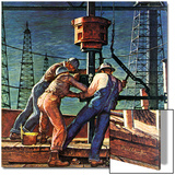 """Drilling for Oil,"" November 9, 1946 Print by Mead Schaeffer"