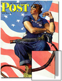 """Rosie the Riveter"" Saturday Evening Post Cover, May 29,1943 Posters av Norman Rockwell"